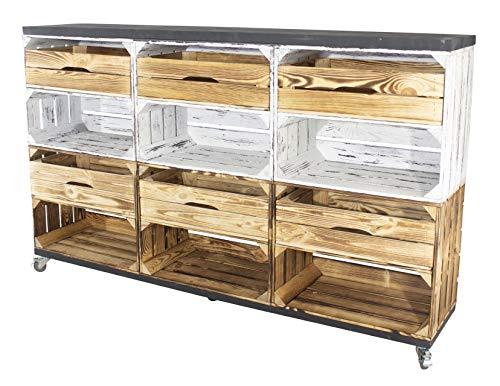 Vintage Möbel 24 GmbH Raumtrenner/Regal aus Kisten und Bohlenbrettern auf Rollen, Geflammt/GrauVintage Kommode (150x93x30cm mit 6 Schubladen)
