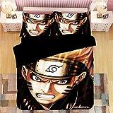 LSC-WMZ-Bettlaken, Steppdeckenbezug mit Naruto-Muster, lebhafte Anime-Bettwäsche, Mikrofaser, komfortabel und weich, Verschiedene Größen zur Auswahl (02,155 x 220 cm)