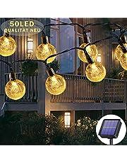 Lichtsnoer op zonne-energie voor buiten, 50 leds, 7 meter, 8 modi, waterdicht, buiten/binnenverlichting, verlichting voor tuin, bomen, terras, Kerstmis, bruiloften, feesten (warmwit)