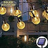 Guirlande lumineuse solaire d'extérieur 50 LED 23 m 8 modes solaires, étanche, pour extérieur/intérieur, éclairage pour jardin, arbres, terrasse, Noël, mariages, fêtes (blanc chaud)