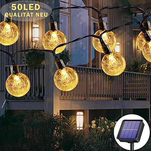 Guirlande lumineuse solaire d'extérieur 50 LED 7m 8 modes solaires, étanche, pour extérieur/intérieur, éclairage pour jardin, arbres, terrasse, Noël, mariages, fêtes (blanc chaud)