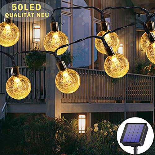 Solar String Lights Outdoor Waterproof, 50LED 23ft 8 Modes Solar Fairy Lights Outside/Inside Lighting for Garden, Trees, Patio, Christmas, Weddings, Parties (Warm White)