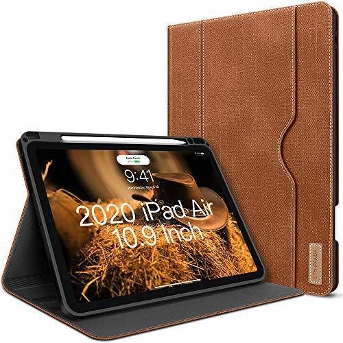 iPad Air 4. Generation Hülle 2020 Neues iPad Air 10.9 Zoll Hülle W Stift Halterung PU Leder Folio Stand Smart Cover mit Tasche Auto Sleep/Wake [Unterstützt drahtloses Laden] (Braun)