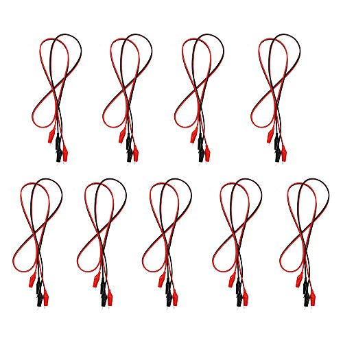 WOWOONE 9Groups Alligator Clips Electrical Insulated Alligator Clips with Wires Test Cable Double-Ended Clips Alligator Clips Insulated Test Leads Cable Black&red 42inches