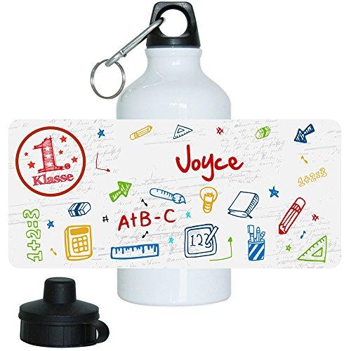 Eurofoto Trinkflasche mit Namen Joyce und 1. Klasse-Motiv für Mädchen, aus Aluminium