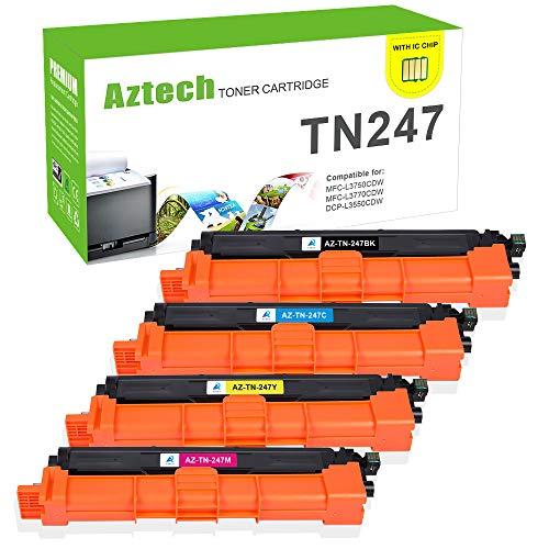 (Con Chip) Aztech Compatibile per Brother TN247 TN-247 TN243 TN-243 Toner per Brother DCP-L3550CDW MFC-L3750CDW MFC-L3770CDW MFC-L3730CDN HL-L3210CW HL-L3230CDW HL-L3270CDW DCP-L3510CDW MFC-L3710CW