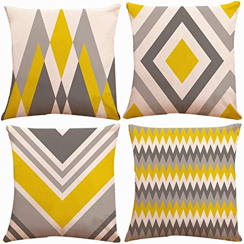 Munzong Yellow and Grey Geometric Decorative Throw Pillow Covers 18x18 Inch 2 Side Design, Set of 4 Cotton Linen Abstract Art Indoor Outdoor Pillow Case Cushion Cover Decor for Couch Car Sofa Bed