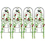 Amagabeli 4 Pack Garden Trellis for Climbing Plants 60' x 18' Rustproof Sturdy Black Iron Trellis for Potted Plant Support Butterfly Metal Trellis for Climbing Roses Vine Flower Cucumber Clematis GT02