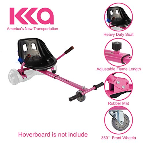 Hoverboard Seat Attachment, Go Kart, Hoverboard Go Cart Accessories, Heavy Duty Frame, Fun for Kids Fits 6.5'/8'/10', Go Kart Conversion Kit For Hoverboard (Pink)