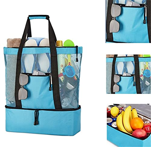 TTCPUYSA Ladies Picnic Bag Mesh Refrigerator,Outdoor Mesh Beach Tote Bag,Large Picnic Bag with Compartments (Blue)