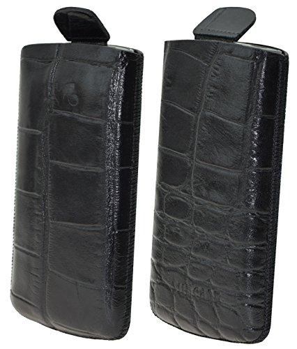 Suncase Original Tasche für AEG Voxtel SM315 Leder Etui Handytasche Ledertasche Schutzhülle Hülle Hülle - Lasche mit Rückzugfunktion* in Croco-schwarz