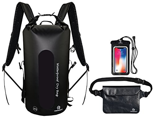 Freegrace Waterproof Dry Bags Set of 3 Dry Bag with 2 Zip Lock Seals & Detachable Shoulder Strap, Waist Pouch & Phone Case - Can Be Submerged Into Water for Swimming, Kayak, Rafting (Black 35L)