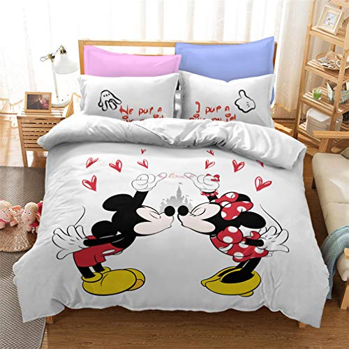 Disney Mickey & Minnie Mouse Design Double Duvet Cover Reversible Grey Two Sided Official Love Bedding Duvet Cover With Matching Pillow Case (Mickey6,King)
