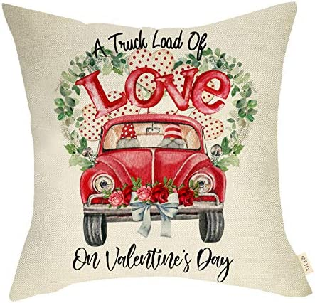 Fjfz Valentines Day Farmhouse Decorative Throw Pillow Cover Vintage Red Truck Gnomes Sign Loads product image