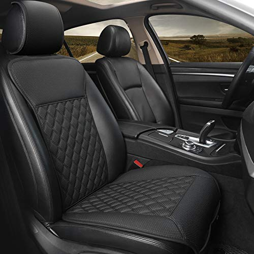 Black Panther Car Seat Cover,Breathable Universal PU Front Car Seat Protector,Non-Wrapped Bottom with Backrest (1PC-Black)