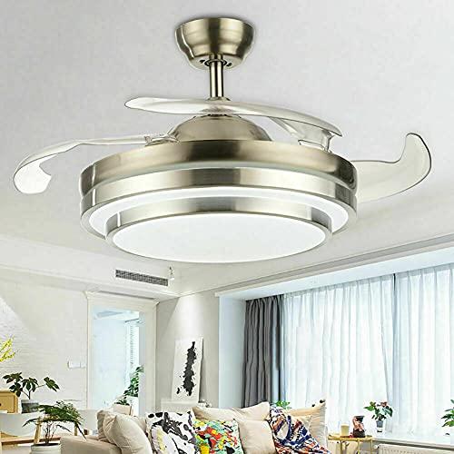 Ventilador de techo LED de 100 cm con iluminación y mando a distancia, regulable, 3 cambios de color, para dormitorio, salón, comedor