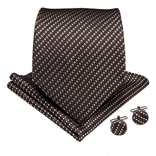 DiBanGu DiBanGu - Business-Krawatten-Set aus gewebter Seide, bestehend aus Herrenkrawatte, Einstecktuch, Manschettenknöpfen und Krawattennadel Gr. Einheitsgröße, braun