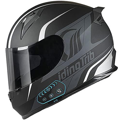 NAINAIWANG Casco Bluetooth Motocicleta Cara Completa Integrado Modular Flip up Moto Auriculares incorporados Micrófono Marcación por Voz Llamada MP3 Intercomunicador FM Dot/ECE Aprobado