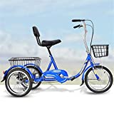 <span class='highlight'><span class='highlight'>JHKGY</span></span> Tricycle, 20 Inch Adult Trikes,Single Speed Hybrid Cargo Cruiser Trike Bike,with Basket,for Shopping W/Full Assemble Tools,Blue