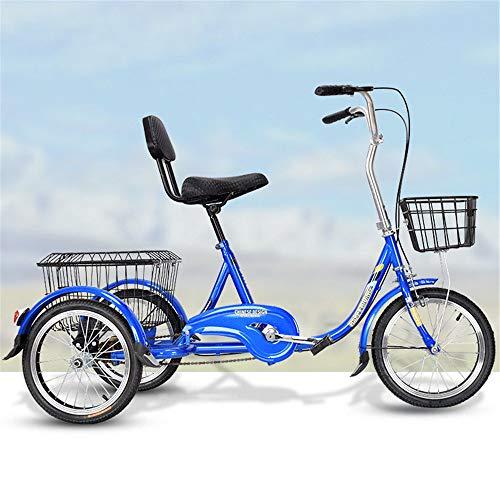 JHKGY Tricycle pour adulte 50,8 cm, vitesse unique, hybride, avec panier, pour les courses avec outils de montage complets, bleu