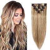 10'(25cm) SEGO Extensiones de Clip de Pelo Natural 8PCS [#12/613 Castaño Dorado/Blanqueador Rubio] Cabello Humano Postizos Pelucas 100% Remy Human Hair (50g)