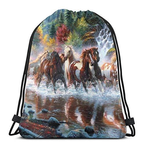 LREFON Bolsas de cuerdas para el gimnasio Cuadro hermoso grupos de caballos Mochilas Casual Unisex Escuela Bolsa de Cuerda Bolsas de Gimnasia 36*42cm