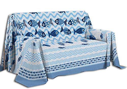 Centesimo Web Shop Telo Arredo Copritutto 2 Misure Copridivano Copripoltrona Multiuso Nautico Marino Spiaggia Mare Pesci Estivo - Azzurro - 260x290 cm