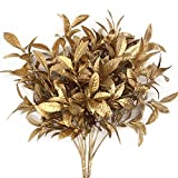 Artificial Plants for Christmas, CATTREE Plastic Grass Faux Shrubs Fake Leaves Simulation Bushes Home Indoor Outdoor Garden Wedding Festival Decoration Hall Office Table Planter Filler – Gold 2 Pack