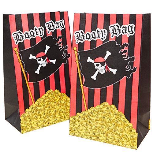 Party Treat Bags - 36-Pack Pirate Party Supplies, Halloween Goodie Bags, Trick or Treat Favors Paper Gift Bags, for Birthday, Holiday, Recyclable Treat Bags for Kids - 5.2 x 8.7 x 3.3 Inches