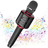 Wireless Bluetooth Karaoke Microphone with Dual Sing, Leather Portable Handheld Mic Speaker Machine for iPhone/Android/PC/TV Birthday Gifts Toys for Girls Boys Adults All Age(Jet Black)
