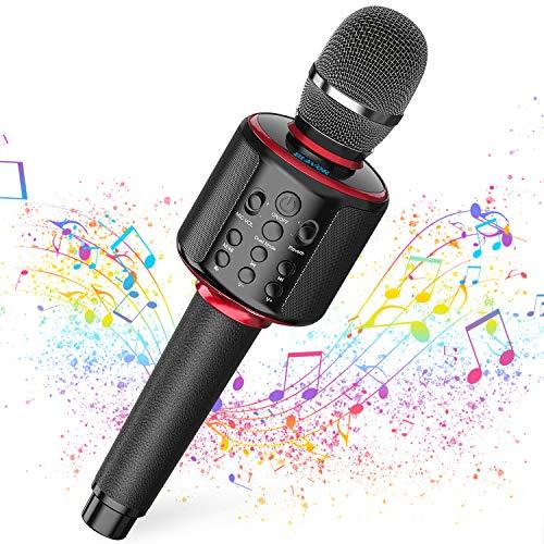 Karaoke - Micrófono inalámbrico con altavoz Bluetooth, portátil profesional, micrófono de mano,...