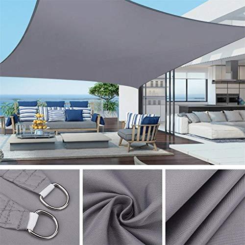 Parasol de Vela Rectángulo Impermeable Parasol 95% Bloque UV Toldo de protección Solar Jardín Playa Patio (Color : Gris, Tamaño : 4x3M)