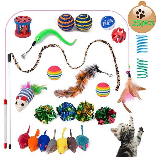 Yangbaga 25 Piezas Juguetes para Gatos Juguetes Interactivo Ratón y Bolas Varias con Campanas y Plumas, Cabezas de Repuesto y Catnip Ball Incluido Gatito Gato