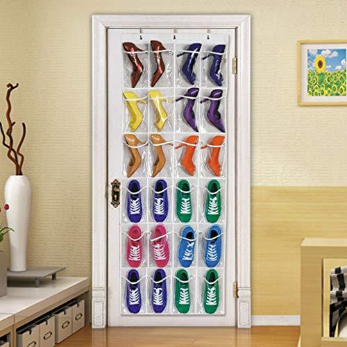 24-Pocket Over-the-Door Large-Size Shoe Organizer Hanging Shoe Storage for Narrow Door