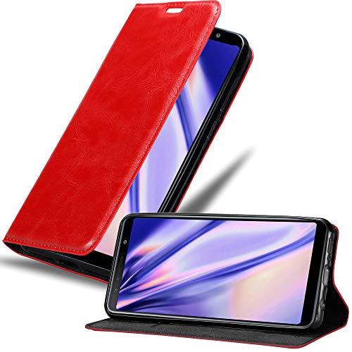 Cadorabo Funda Libro para Samsung Galaxy A7 2018 en Rojo Manzana - Cubierta Proteccíon con Cierre Magnético, Tarjetero y Función de Suporte - Etui Case Cover Carcasa