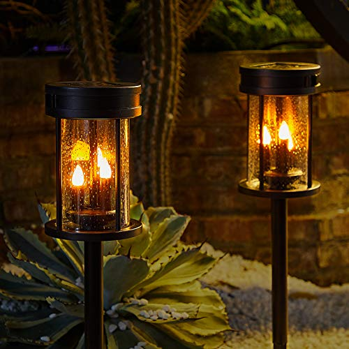 Outdoor Garden Solar Stake Lights Flickering Candle Lantern Lighting for Yard, Lawn, Patio, Pathway, Wall Decoration (2Pack, Black)