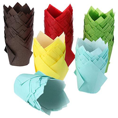 200 Stück Tulpe Cupcake Liner Backförmchen Papier Cupcake Und Muffin Backförmchen für Hochzeiten Und Geburtstag (Braun, Rot, Gelb, Blau, Grün)
