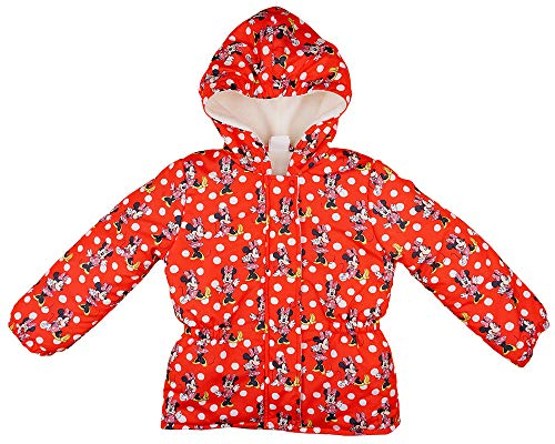 Mädchen Winter-Jacke Warm Kapuzen-Jacke Minnie Mouse Disney Rot gefüttert Parka Größe 86 92 98 104 110 116 für 1 2 3 4 5 Jahre wasserdicht (86, Modell 1)