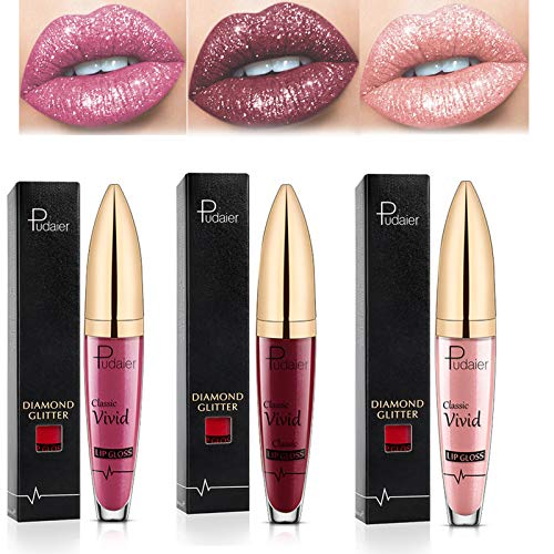 wsxc 3pcs Diamond Shiny Long Lasting Lipstick, Matte Liquid Lipstick, Long Lasting Waterproof Colourful Lip Gloss, Glitter Lipstick (04+05+06)