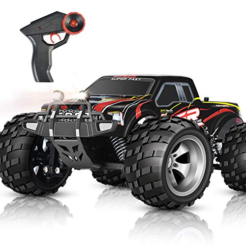 DOUBLE E RC Car 4WD High Speed Monster Trucks Headlights Outdoor Car 2.4GHz with Rechargeable RC Trucks for Boys Girls Kids, Red