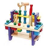 BigNoseDeer Holzspielzeug Werkzeugkasten Set Arbeitstisch BAU Zimmerei Holzbearbeitung Kit Intellektuelle Bildung für Kinder