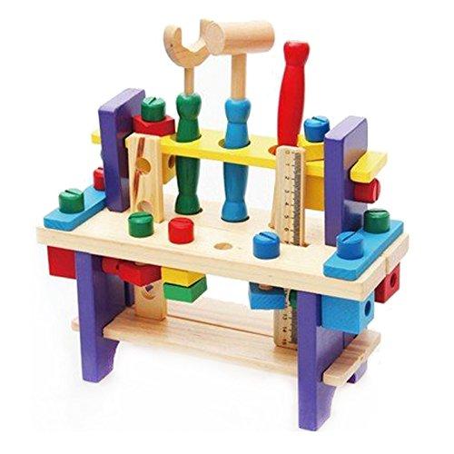 BigNoseDeer Juego de Herramientas de Madera del Juguete Banco de Trabajo Construcción Carpintería Kit de la carpintería Educación Intelectual para los Cabritos