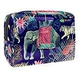 Bolsa de Maquillaje Elefante Tigre Retro Neceser de Cosméticos y Organizador de Baño Neceser de Viaje Bolsa de Lavar para Hombre y Mujer 18.5x7.5x13cm
