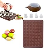 CETECK mat, Silicone Macaron Making Set 48 Capacity Baking Sheet Non Stick Cake Bakeware Kit with Decorating Pen with 4 Nozzles, 2