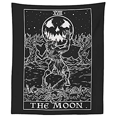 """The Moon Tarot Card Tapestry (Black & White) - Werewolf - Gothic Halloween Home Decor Wall Hanging (60"""" x 50"""")"""