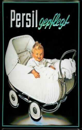 Blechschild Nostalgieschild Persil gepflegt Kinderwagen Waschpulver Baby