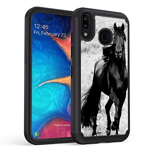Galaxy A30 Case, Galaxy A20 Case, Rossy Full-Body Heavy-Duty Hybrid Hard PC & Soft Silicone Dual Layer Shockproof Protection Case for Samsung Galaxy A20,Black Horse Black Horse Black Horse Black Horse