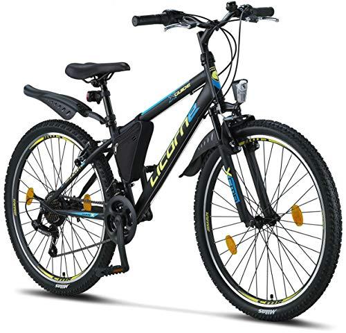 """Licorne Bike - Mountain bike 26"""" cambio Shimano a 21 marce, forcella ammortizzata, bicicletta per bambini, ragazzi, donne e uomini, con borsa per il telaio, Bambino Uomo, Nero/Blu/Lime"""