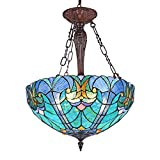 [TIFFANY PENDANT LIGHTS SIZE] Tiffany Dining Table Lights in 17.7 inches Wide lampshade and comes with 59 inches long chain, the total height is 82 inches. So it can be hung from a high ceiling. [STAINED GLASS LIGHTING FIXTURES BULB] We can use Incan...
