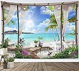 LB 200x150cm Tapiz de Pared Océano turquesa Colgar de Pared playa Tela Pared Paisaje de isla tropical desde el balcón Tapices para Sala Dormitorio Decoración Pared